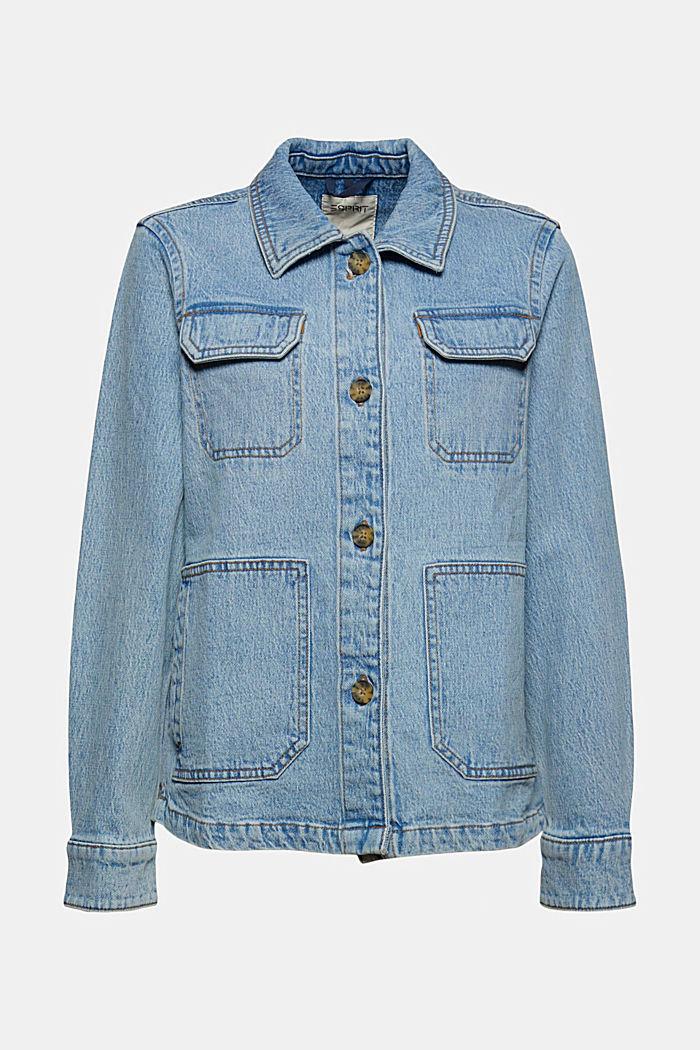 Džínové košilová bunda z bio bavlny, BLUE LIGHT WASHED, detail image number 6
