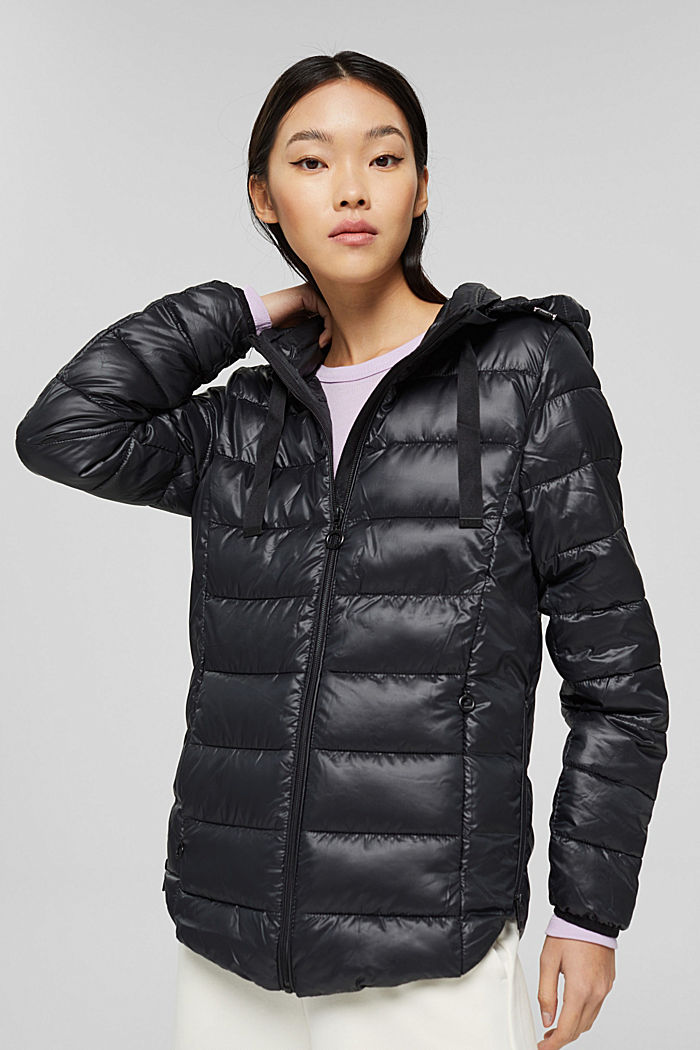 Recycled: lightweight quilted jacket with a hood, BLACK, detail image number 0