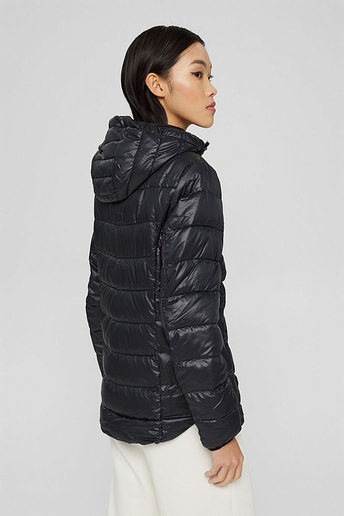 Recycled: lightweight quilted jacket with a hood, BLACK, detail image number 3