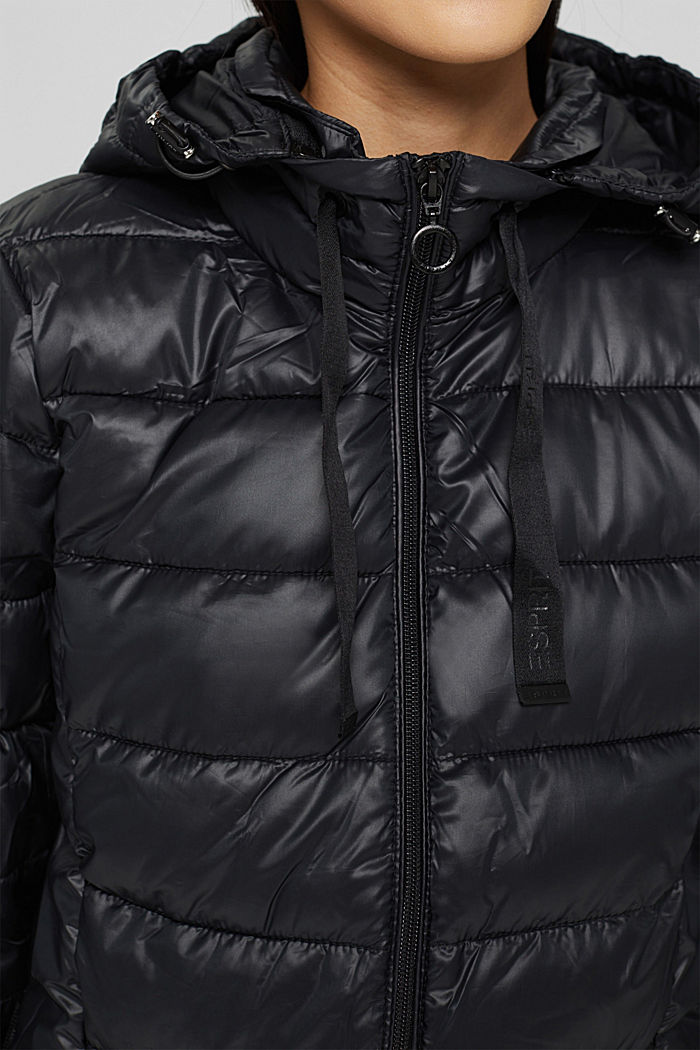 Recycled: lightweight quilted jacket with a hood, BLACK, detail image number 2