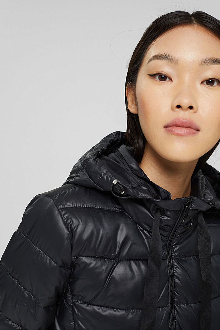 Recycled: lightweight quilted jacket with a hood, BLACK, detail image number 5