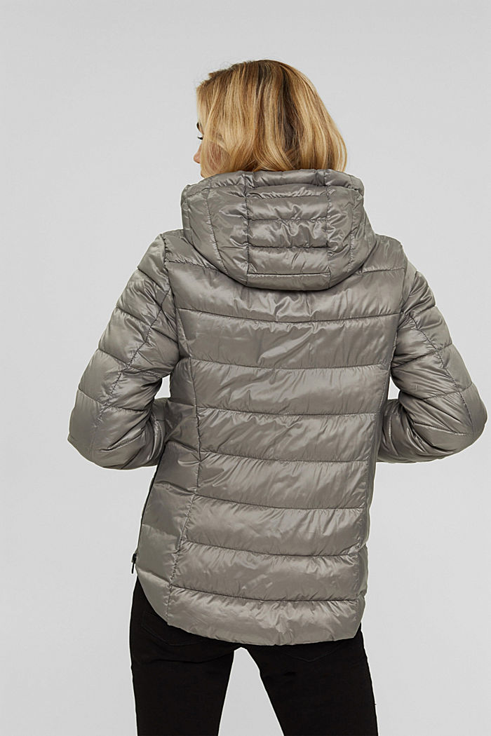 Recycled: lightweight quilted jacket with a hood, LIGHT GUNMETAL, detail image number 3