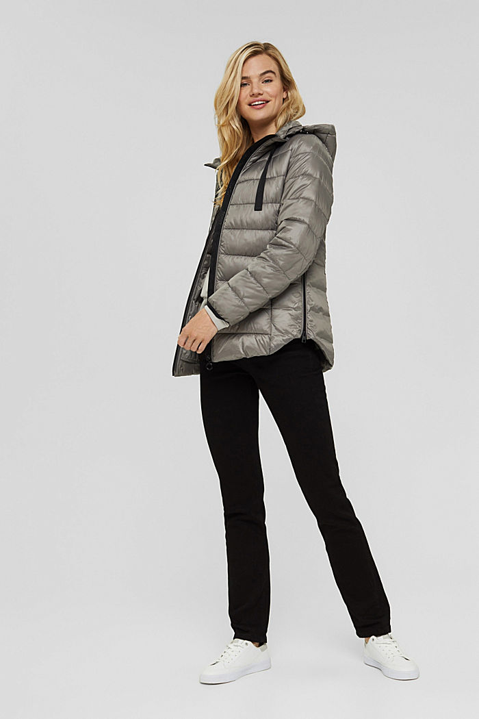Recycled: lightweight quilted jacket with a hood, LIGHT GUNMETAL, detail image number 1