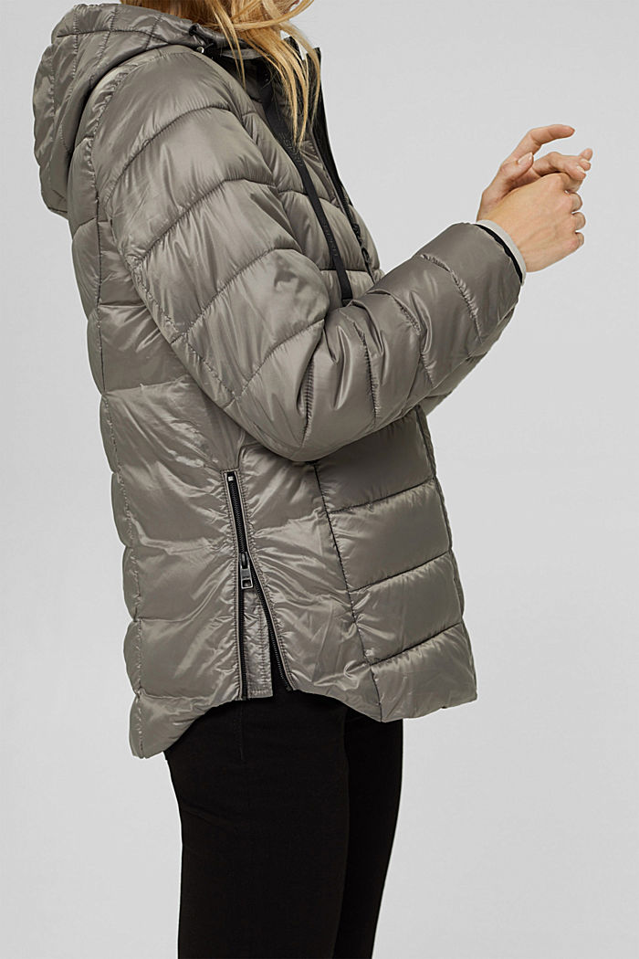 Recycled: lightweight quilted jacket with a hood, LIGHT GUNMETAL, detail image number 2