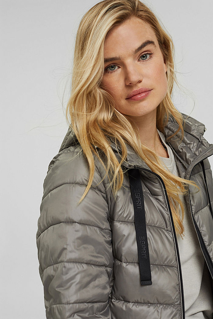 Recycled: lightweight quilted jacket with a hood, LIGHT GUNMETAL, detail image number 5