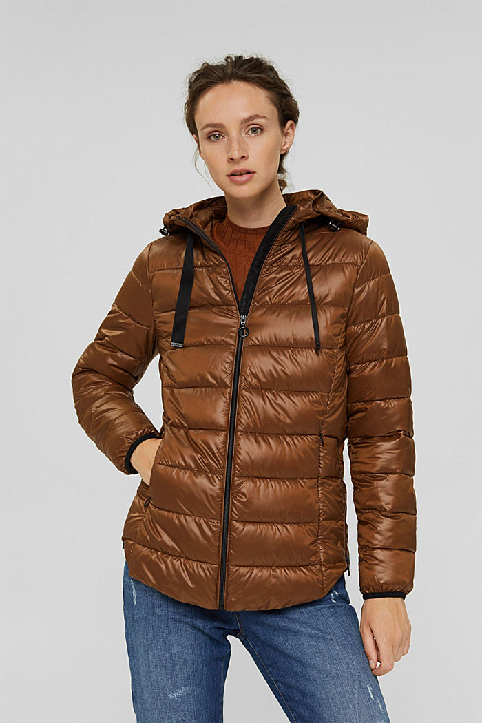Recycled: lightweight quilted jacket with a hood, TOFFEE, detail image number 0