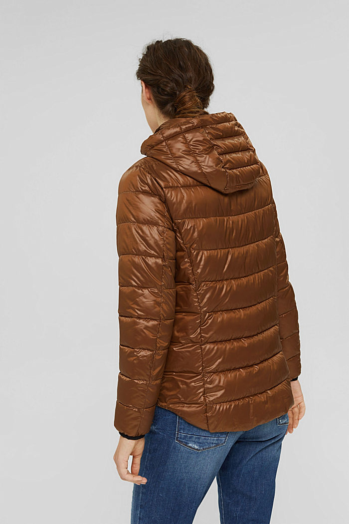 Recycled: lightweight quilted jacket with a hood, TOFFEE, detail image number 3