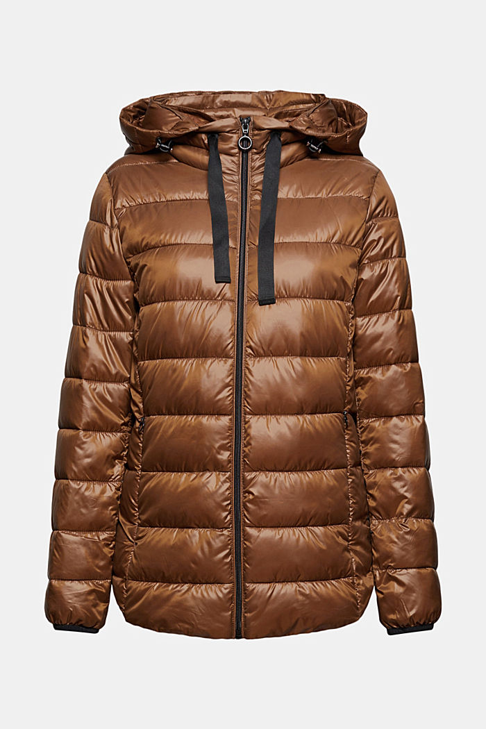 Recycled: lightweight quilted jacket with a hood, TOFFEE, detail image number 5