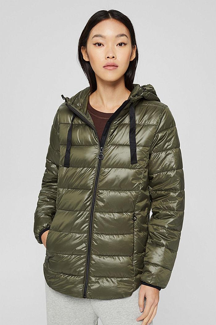 En matière recyclée: la veste matelassée à capuche, DARK KHAKI, detail image number 0