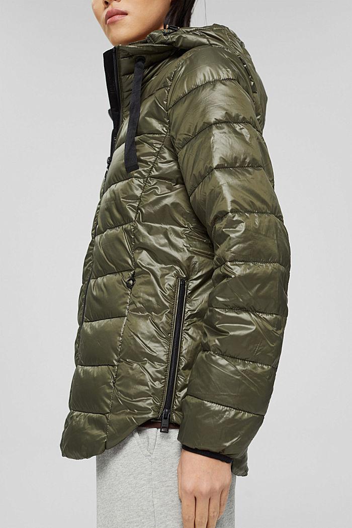 En matière recyclée: la veste matelassée à capuche, DARK KHAKI, detail image number 5