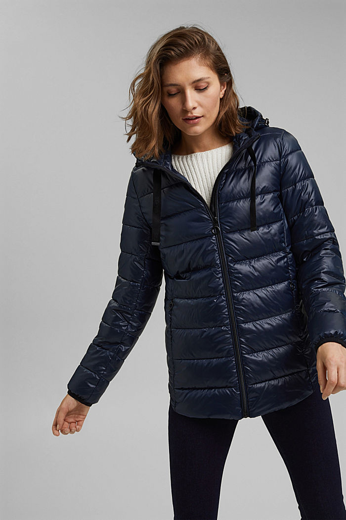 Recycled: lightweight quilted jacket with a hood