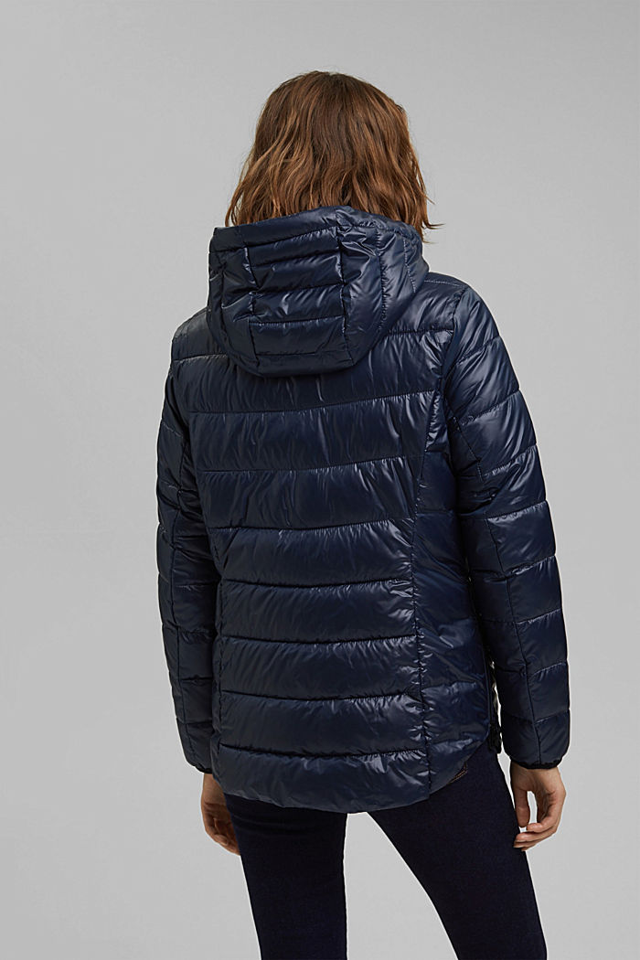 Recycled: lightweight quilted jacket with a hood, NAVY, detail image number 3