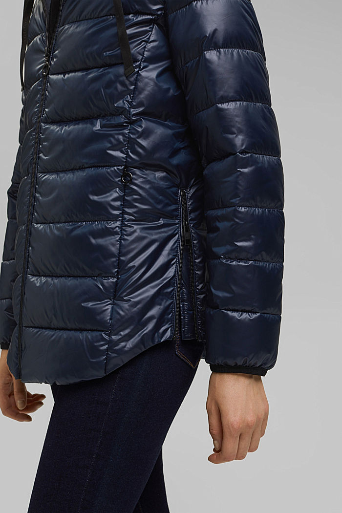 Recycled: lightweight quilted jacket with a hood, NAVY, detail image number 5