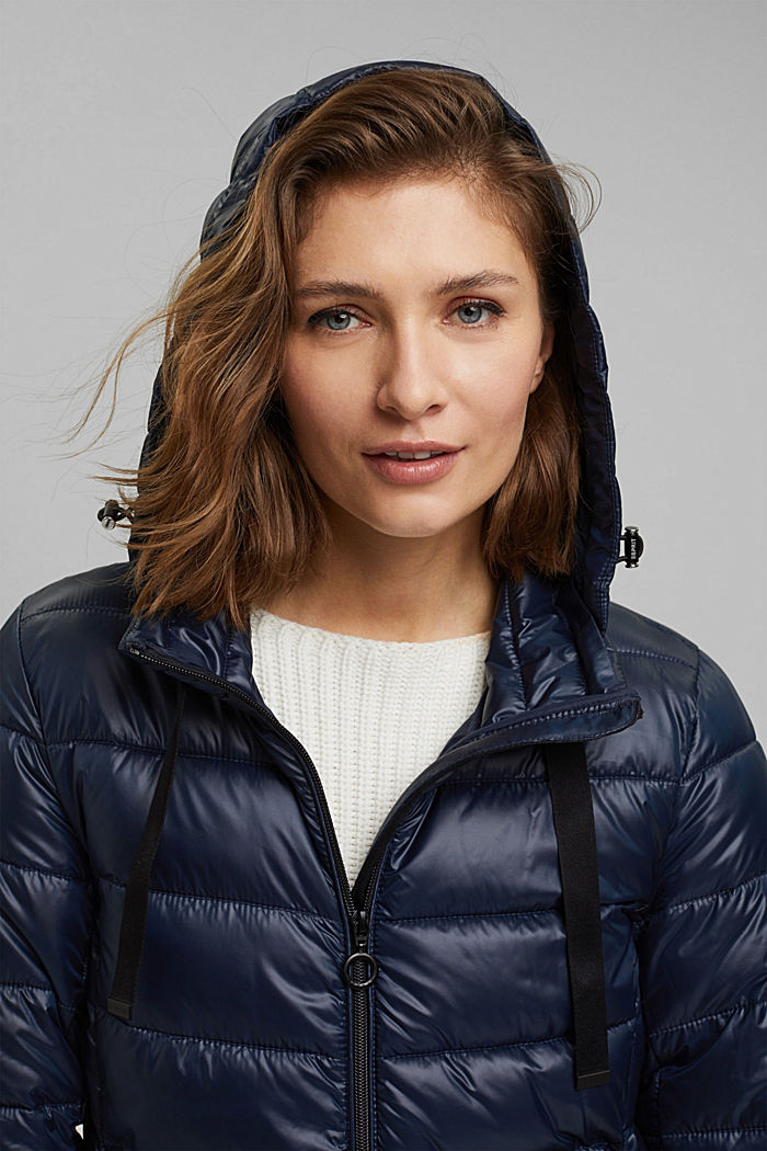 Recycled: lightweight quilted jacket with a hood, NAVY, detail image number 6