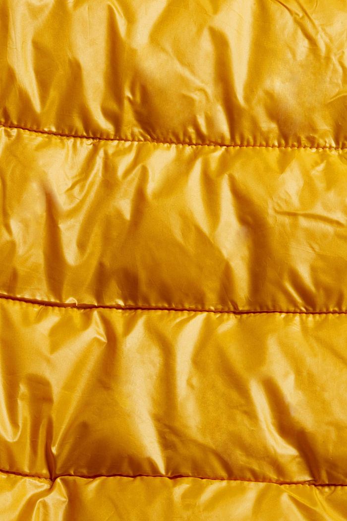 Recycelt: leichte Steppjacke mit Kapuze, HONEY YELLOW, detail image number 4