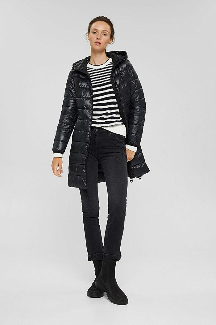 En matière recyclée: le manteau matelassé léger à capuche, BLACK, detail image number 1