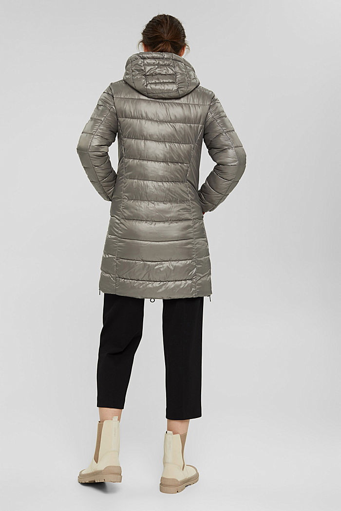 Recycled: lightweight quilted coat with hood, LIGHT GUNMETAL, detail image number 3