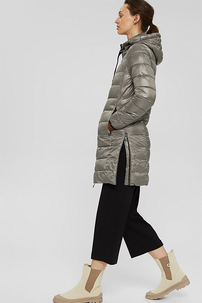 Recycled: lightweight quilted coat with hood, LIGHT GUNMETAL, detail image number 5