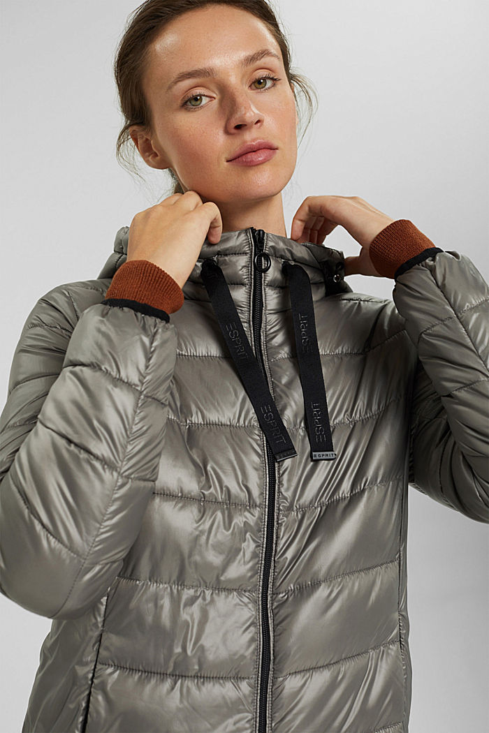 Recycled: lightweight quilted coat with hood, LIGHT GUNMETAL, detail image number 6