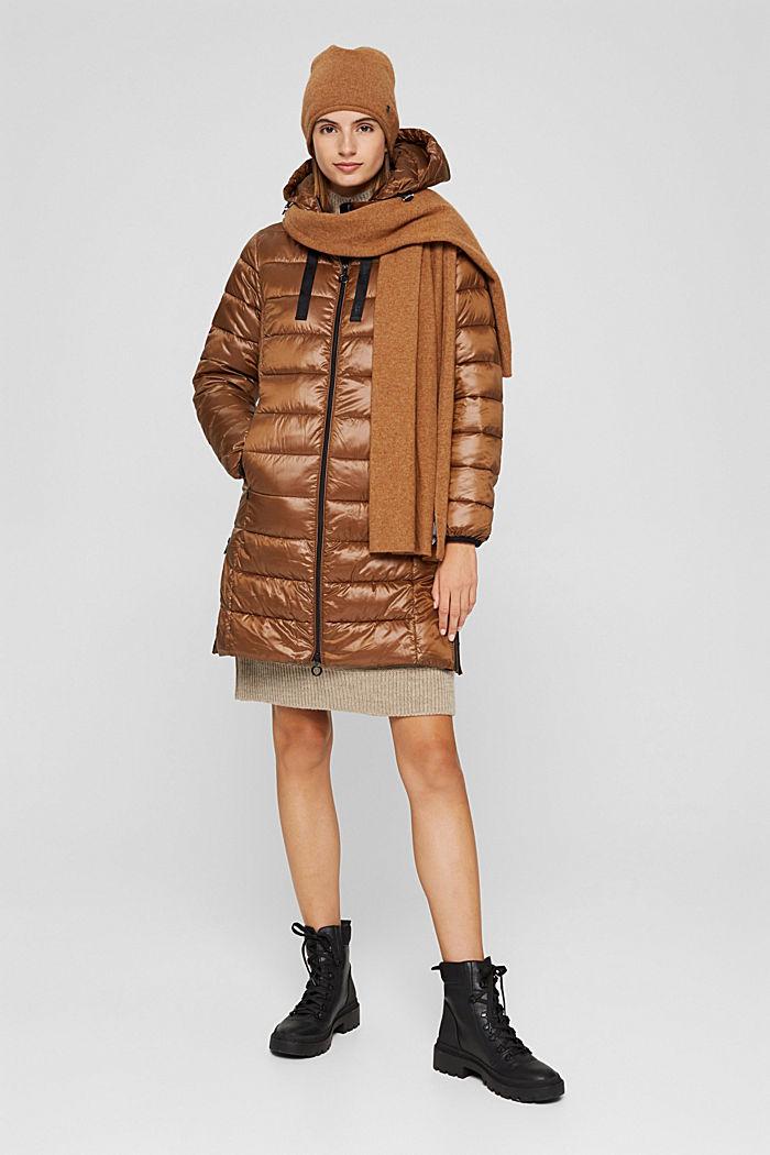 Reciclado: abrigo acolchado ligero con capucha, TOFFEE, detail image number 1