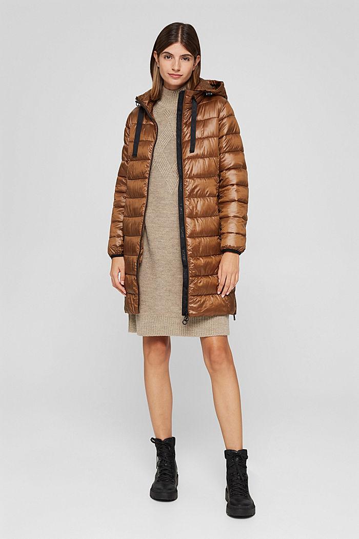 Reciclado: abrigo acolchado ligero con capucha, TOFFEE, detail image number 7