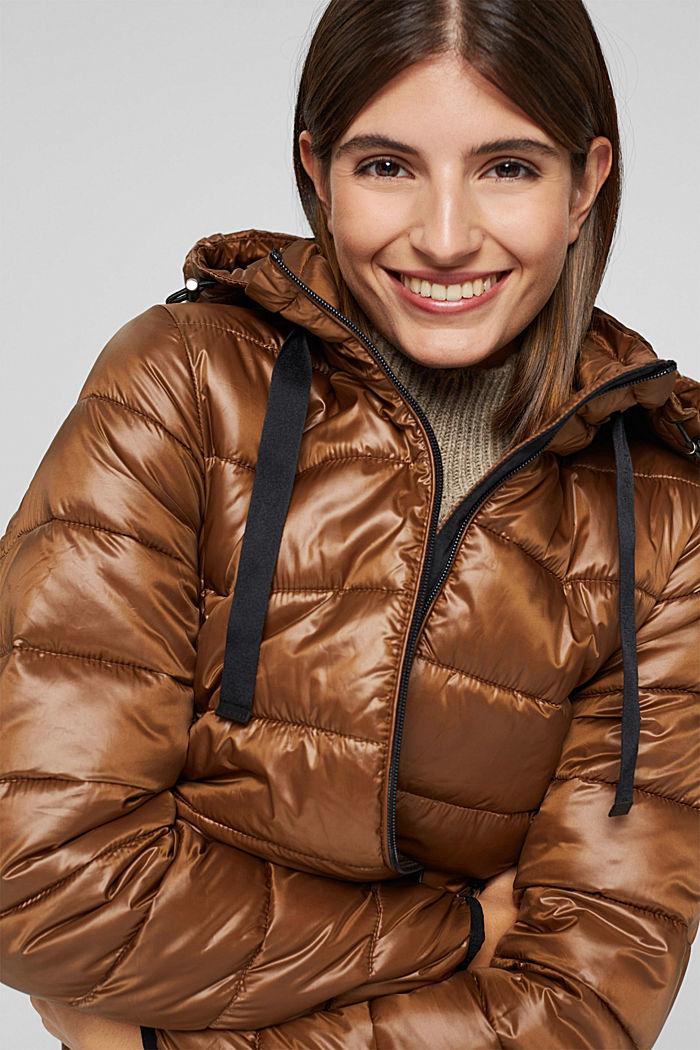 Reciclado: abrigo acolchado ligero con capucha, TOFFEE, detail image number 6