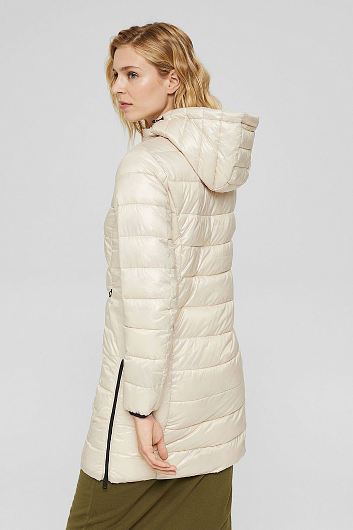 Recycled: lightweight quilted coat with hood, CREAM BEIGE, detail image number 3