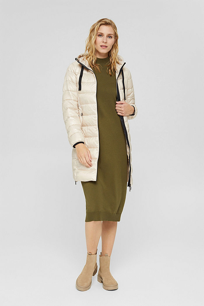 Recycled: lightweight quilted coat with hood, CREAM BEIGE, detail image number 1