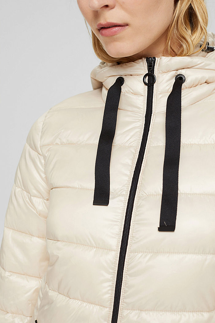 Recycled: lightweight quilted coat with hood, CREAM BEIGE, detail image number 2