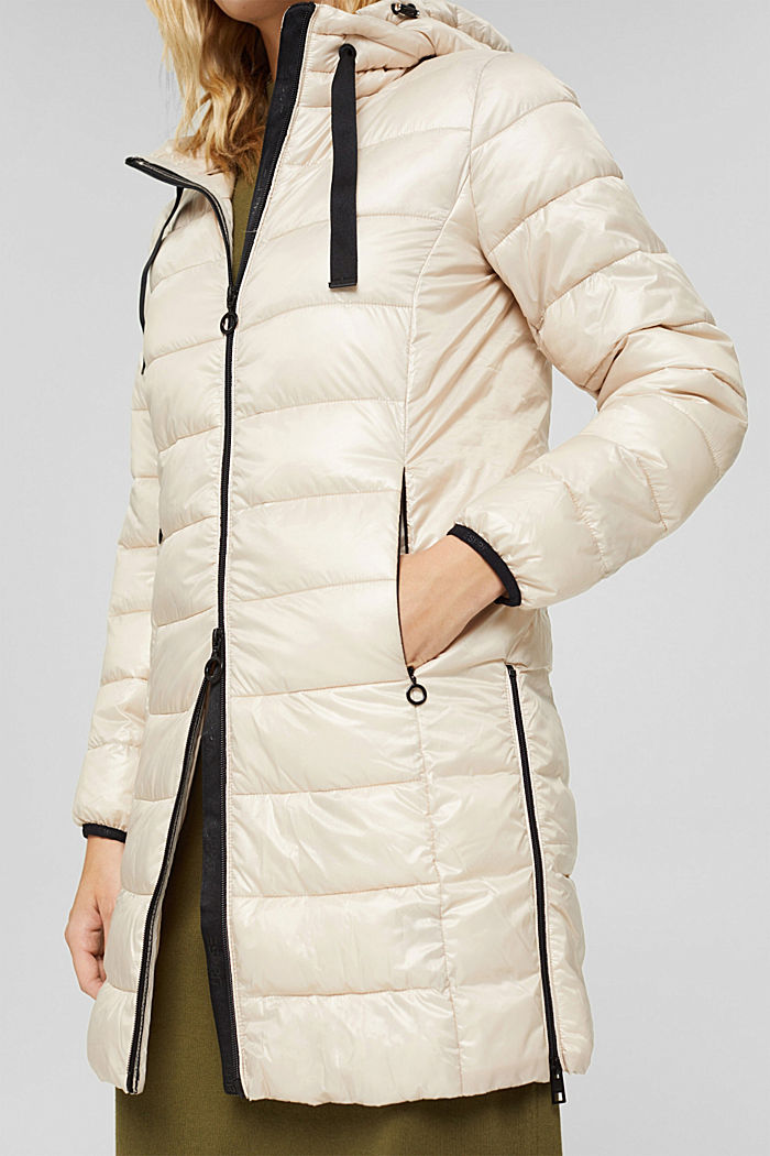 Recycled: lightweight quilted coat with hood, CREAM BEIGE, detail image number 5