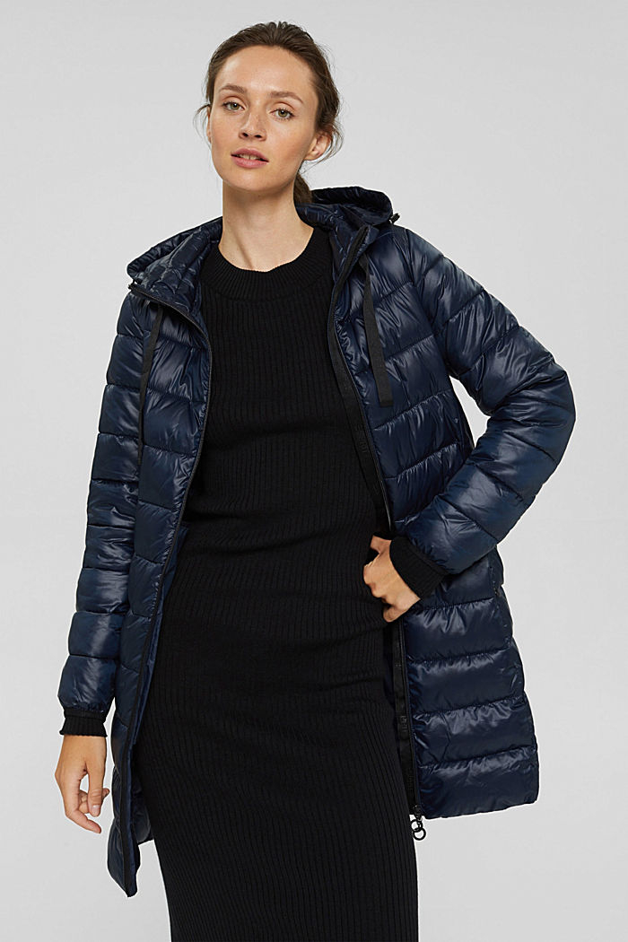 Recycled: lightweight quilted coat with hood, NAVY, detail image number 0