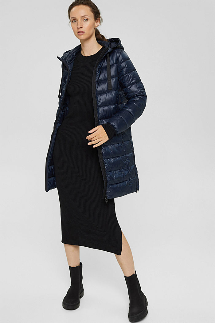 Recycled: lightweight quilted coat with hood, NAVY, detail image number 5