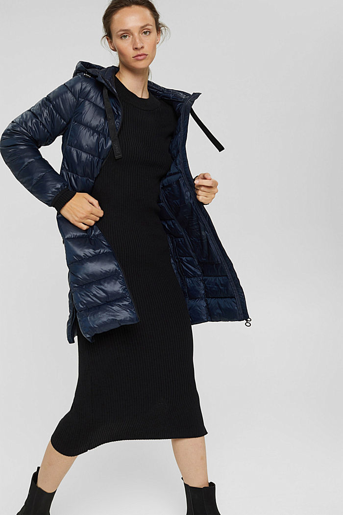 Recycled: lightweight quilted coat with hood, NAVY, detail image number 1