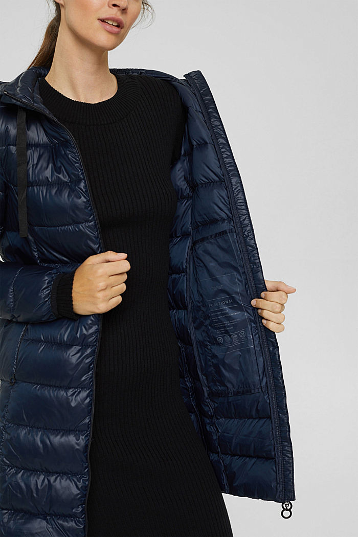 Recycled: lightweight quilted coat with hood, NAVY, detail image number 2