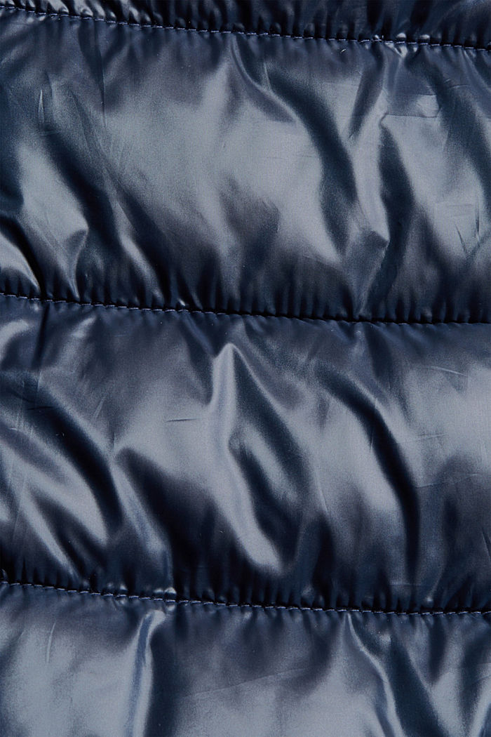 Recycled: lightweight quilted coat with hood, NAVY, detail image number 4