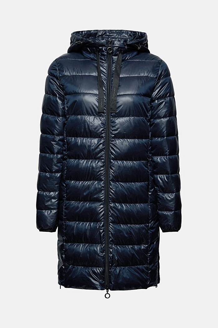 Recycled: lightweight quilted coat with hood