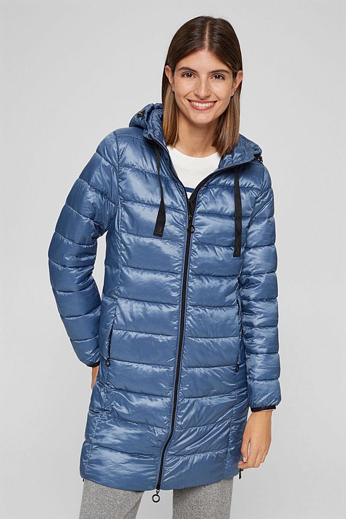Reciclado: abrigo acolchado ligero con capucha, GREY BLUE, detail image number 0