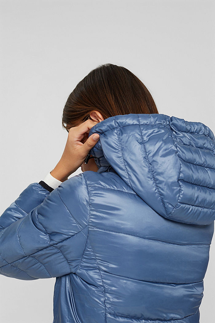 Reciclado: abrigo acolchado ligero con capucha, GREY BLUE, detail image number 2