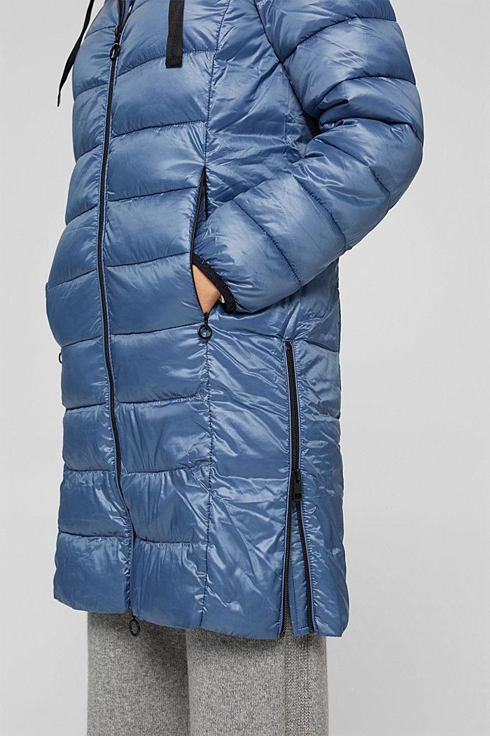 Reciclado: abrigo acolchado ligero con capucha, GREY BLUE, detail image number 5