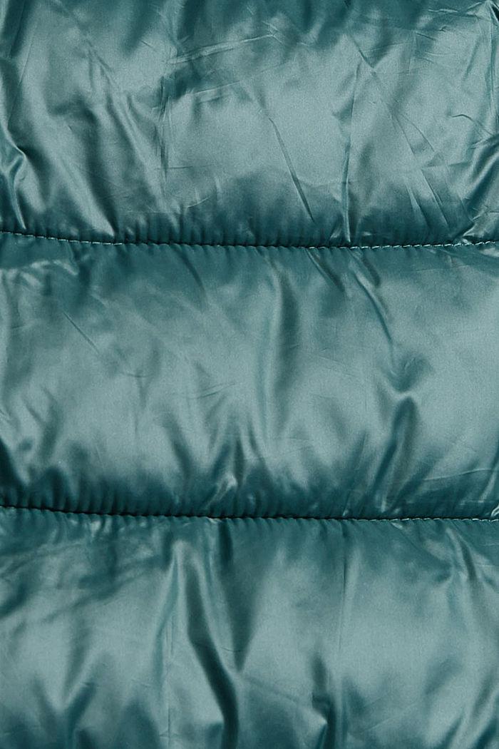 Recycelt: leichter Steppmantel mit Kapuze, TEAL BLUE, detail image number 4