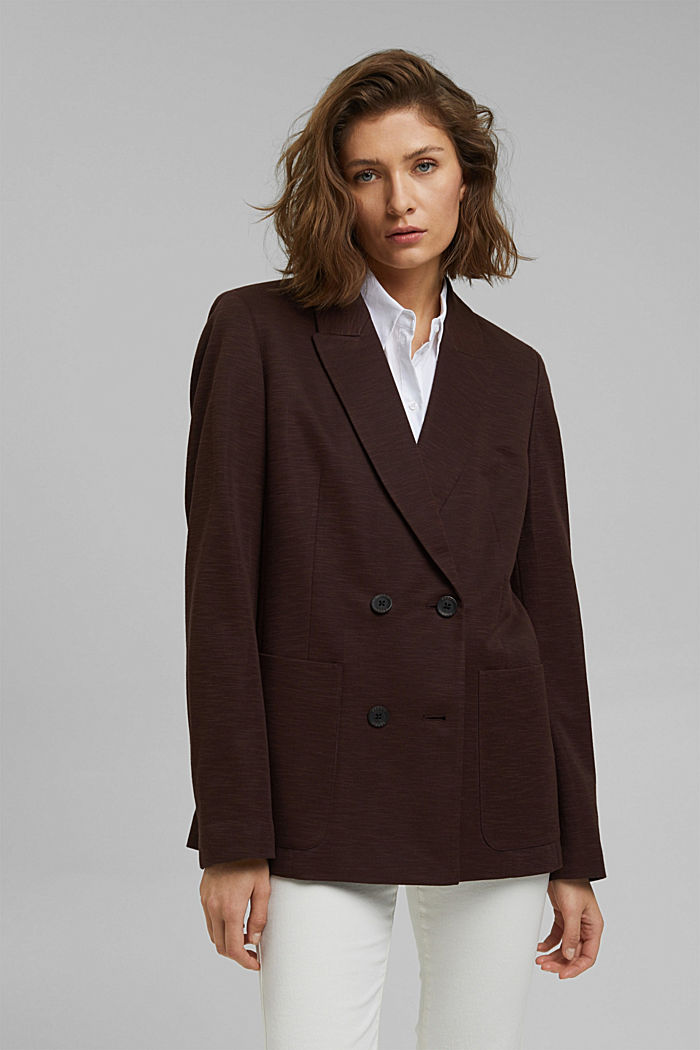 Double-breasted jersey blazer, RUST BROWN, detail image number 4