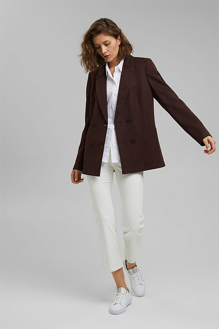 Double-breasted jersey blazer, RUST BROWN, detail image number 1