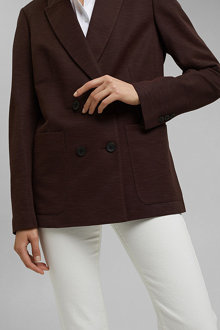 Double-breasted jersey blazer, RUST BROWN, detail image number 2