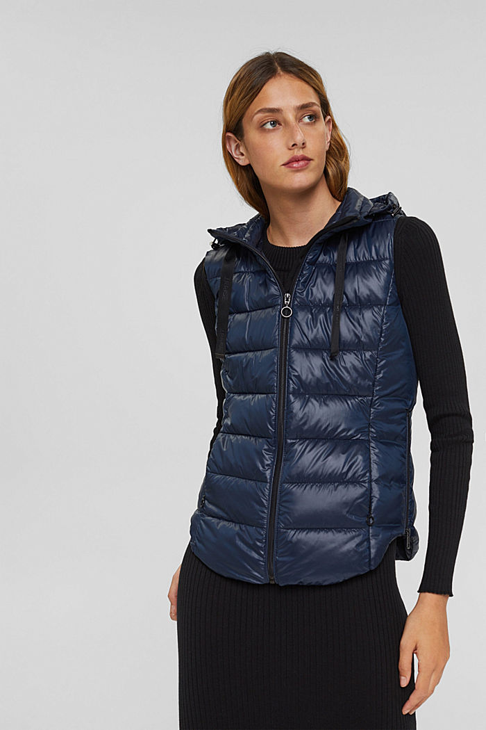 Recycled: lightweight quilted body warmer with hood