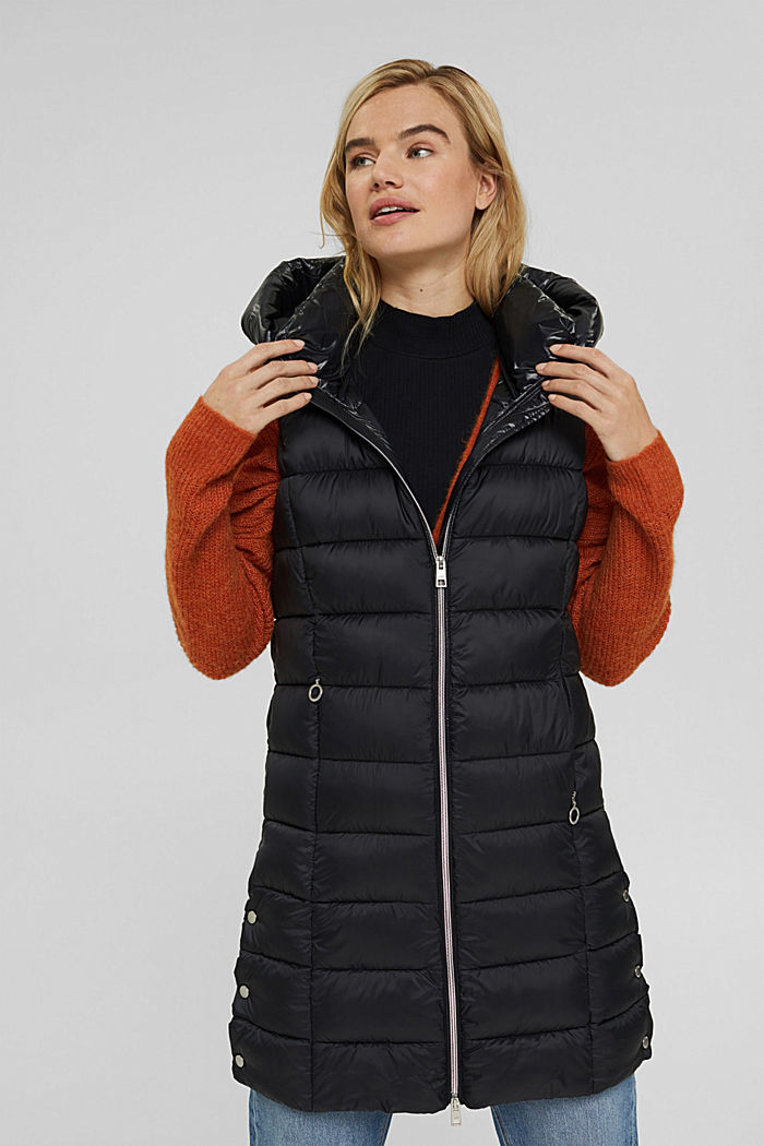 Recycled: long quilted body warmer 3M™ Thinsulate™, BLACK, detail image number 0