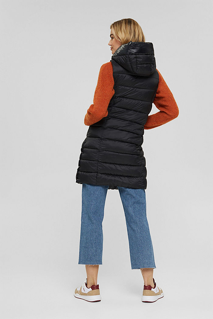 Recycled: long quilted body warmer 3M™ Thinsulate™, BLACK, detail image number 3