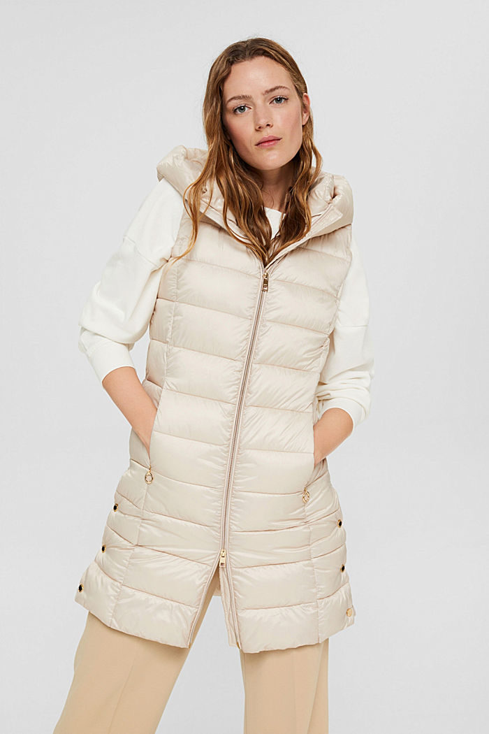 Recycled: long quilted body warmer 3M™ Thinsulate™, CREAM BEIGE, detail image number 0