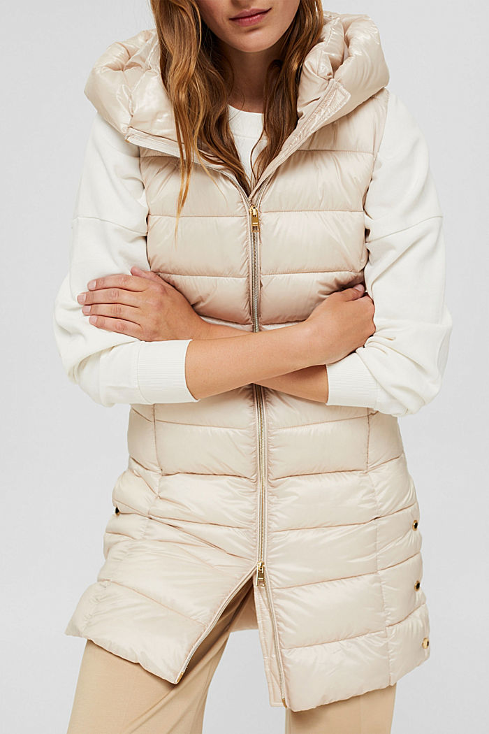 Recycled: long quilted body warmer 3M™ Thinsulate™, CREAM BEIGE, detail image number 2