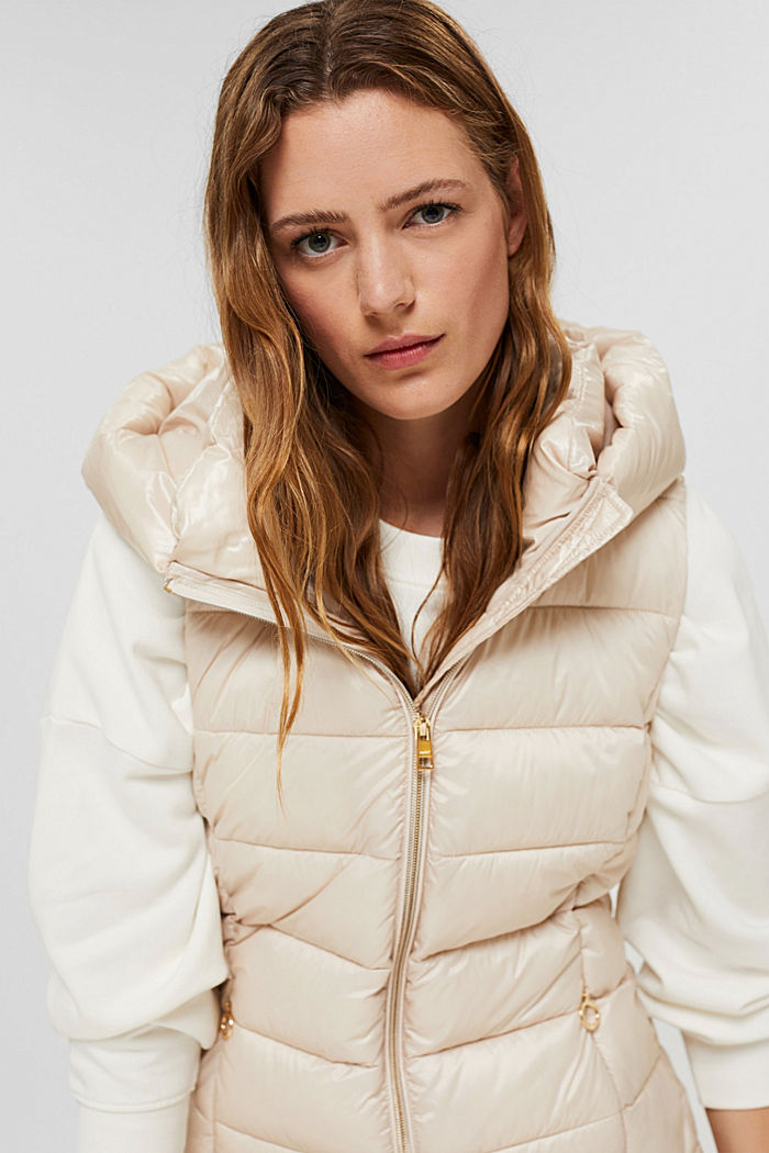 Recycled: long quilted body warmer 3M™ Thinsulate™, CREAM BEIGE, detail image number 5