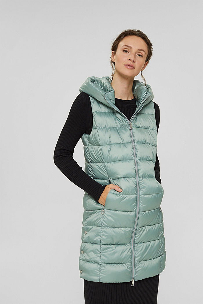 Recycled: long quilted body warmer 3M™ Thinsulate™, DUSTY GREEN, detail image number 0
